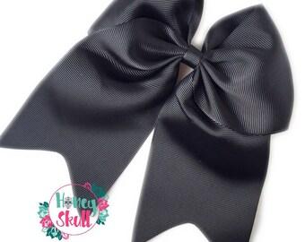 "Black Bow,  Black ""Cheer"" Bow,  Grosgrain Bow, Large Black Bow,  QUICK SHIP"