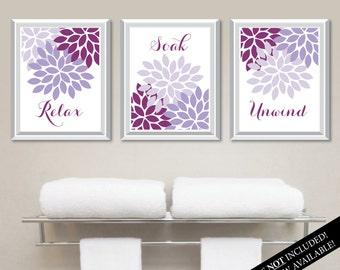 Floral Relax Soak Unwind Print Trio. Bathroom Home Decor Wall.  Bathroom Art. Flower Bathroom. Purple Bath Art. Flower Bath Art. NS-802