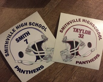 Custom Football Decal, Sports Decal, Custom Football Helmet Decal, Car Decal, Football Decal