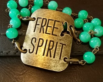 Free Spirit Stamped Metal and Beaded Bracelet
