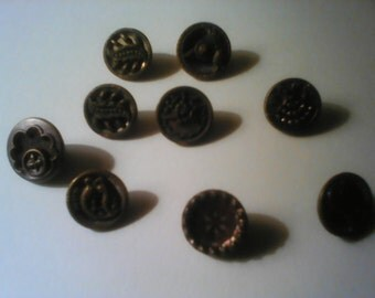 Antique Victorian metal picture buttons