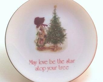 Holly Hobbie Vintage Porcelain Christmas Dish Ornament 1978