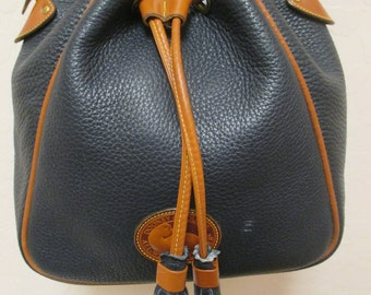 Leather Dooney and Bourke Bucket Bag Navy blue and brown