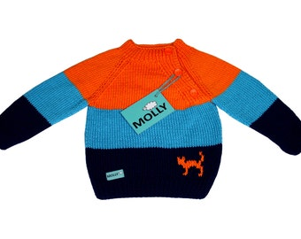 """3 coloured/striped sweater with a cat """"Night's cat"""" EU size 86, 12-18 months old (orange, blue,navy)"""
