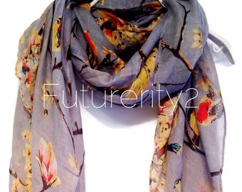 Cherry Blossom Birds Grey Summer Scarf /  Spring Scarf / Autumn Scarf / Gifts For Her / Women Scarves / Accessories