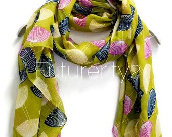 Dandelion Olive Green Scarf / Spring Sumner Scarves / Women Scarves / Gifts For Her / Accessories / Handmade / Gifts For Mother