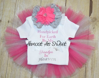 Handpicked for Earth by my relative in heaven tutu set with coordinating bow