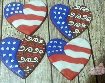 "Patriotic Flag Heart Decorated Sugar Cookies  3"" -1 dozen"