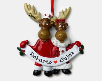 SHIPS FREE - Moose Couple Personalized Ornament - Hand Personalized Christmas Ornament