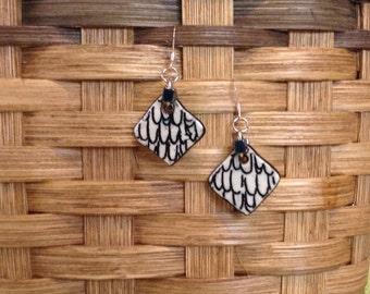Diamond Clay Black & White Earrings