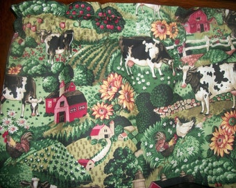 Country Kitchen Cow Chicken Rooster Farm Sunflower Apple curtain topper Valance