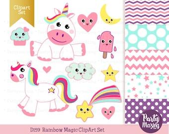 Kawaii Unicorn Clipart Set, Cute Nursery, Digital Paper Pack, Instant Download -D159