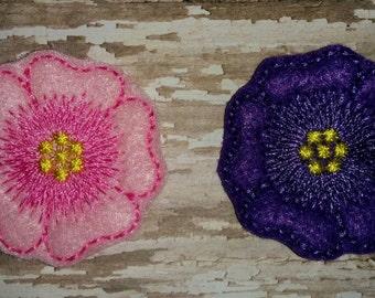 Set of 4 Hawaiian Hibiscus Flower Feltie Felt Embellishment Bow! Birthday Party Baby Shower Decoration Felties Planner Clip Flowers