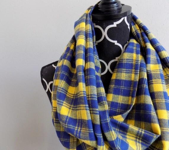 Blue Amp Yellow Plaid Infinity Scarf Womens Plaid Flannel