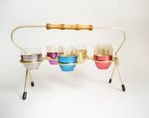 Vintage Shot glasses Caddy 50s 60s  shooters glass colorful party shooters mad men style. (41)
