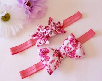 Bow Headband, Flower Headband, Baby Headband, Hot Pink Headband, Floral Headband, Baby Bow Headband, Girls Headband, Baby Flower Headband