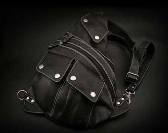 Leather Backpack Black K05D49