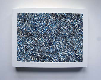 Blue geometric triangle print - 8x10'' wall art digital illustration