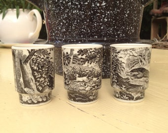 Shot glasses for the hunter , hunting motifs in black / white , 3 pieces