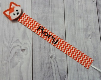 Personalized Pacifier Clip, Fox Pacifier Clip, Boy Pacifier Clip, Boy Paci Clip, Boy Binky Holder, Boy Binky Clip, Boy Pacifier Holder