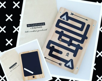 Little Wanderer iPad Game Board, maze, chalkboard, birthday gift, toddler gift, toy, wooden toy, native, teepee design