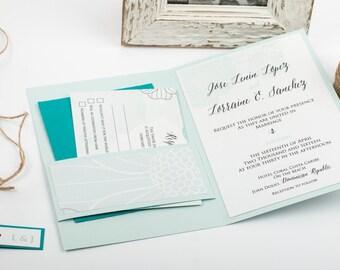 Destination Wedding Invitation. Aqua Blue Invitation Suite. Beach Wedding Invitations