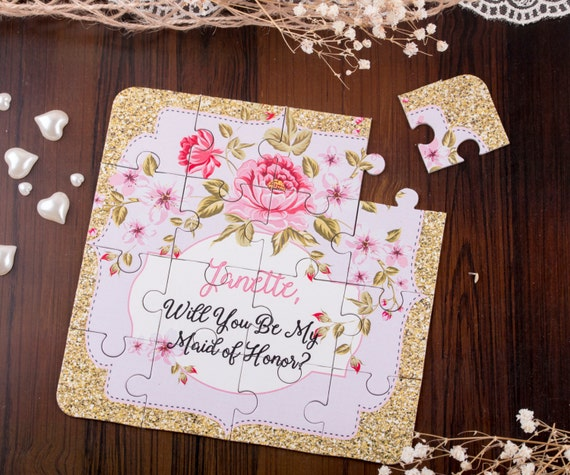 Will you be my Bridesmaid Puzzle Vintage Wedding Bridesmaid Proposal Asking Bridesmaids Wedding Invitation