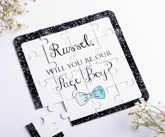 Will You Be My Ring Bearer Puzzle Invitation Personalized Page Boy Ask Ring Bearer Page Boy Any TITLE