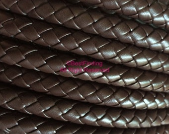 8mm Brown braided leather cord 8mm round synthetic leather cord