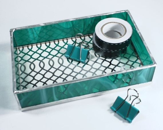 Teal stained glass tray desk organizer box by balsamrootglass - Glass desk organizer ...