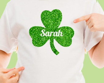 St PATRICKS DAY Custom Name Clover Glitter Kids Irish Tshirt Onesie