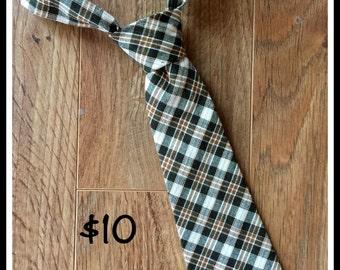 Little Boy Necktie / Handmade Boy Tie / Plaid Brown, Black and Cream