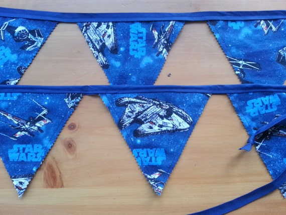 Star wars banner bunting mellennium falcon space themed for Space themed material