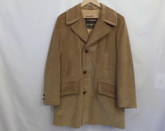 Vintage The Country Coat Sears Mens size 38R Regular Tan Corduroy Hipster Lined Coat
