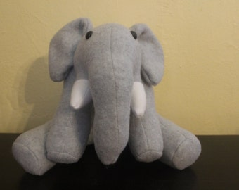 Grey stuffed elephant plushie/nursery decor