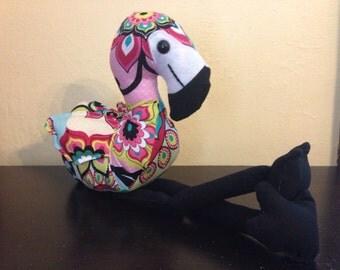 Multicolored floral stuffed flamingo/plushie