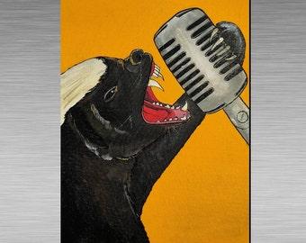 Honey Badger Singer into Vintage Microphone  Greetings card / Art Print