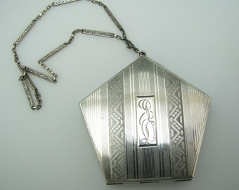 Vintage Sterling Silver Wristlet Compact