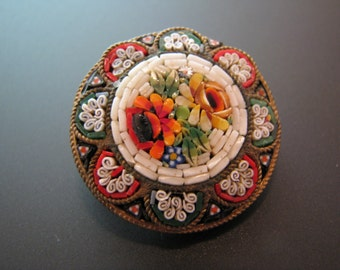 Beautiful Vintage Italian Micro Mosaic Brooch