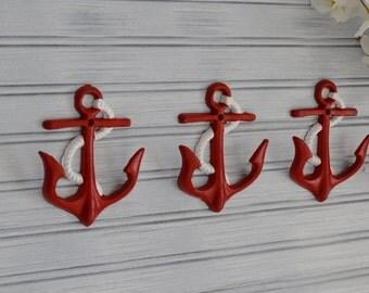 Anchor Hook. Set of Three Red Anchor Hooks. Towel, Hat, Key, Coat Wall Hook. Coastal Beach Decor. Nautical, Cottage Chic, Shabby, Navy, Bath