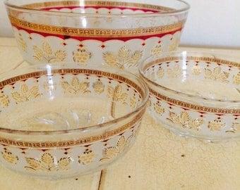 Italy Serving Bowl Set, Fruit Bowl Cerve DeValbor, Mid Century Frosted Glass