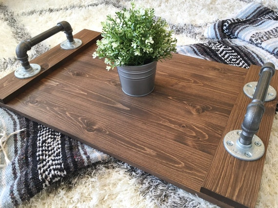 Rustic industrial tray wooden ottoman by