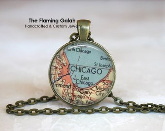 CHICAGO Map Pendant • Map of Chicago • Vintage Chicago Map • Windy City Map • Gift Under 20 • Made in Australia (P0439)