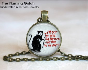 "GRAFFITI PENDANT •  ""I'm Out Of Bed"" Banksy •  Graffiti Rat •  Banksy Street Art • Gift Under 20 • Made in Australia (P0034)"