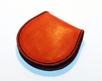 Leather coin wallet, orange coin wallet, great leather item, orange men's wallet, small coin wallet, gift for men, gift for women.