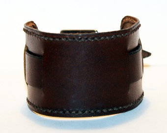 Brown Leather Cuffes! Brown Women Rocker Bracelet! Great Gift For Women! Brown Cuff! Brown Bracelet!