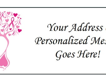 60 Personalized Breast Cancer Pink Ribbon Awareness Return Address Labels