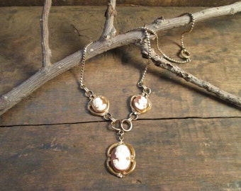 vintage 1/20 gold filled drop cameo retro era necklace and screw-back earrings set
