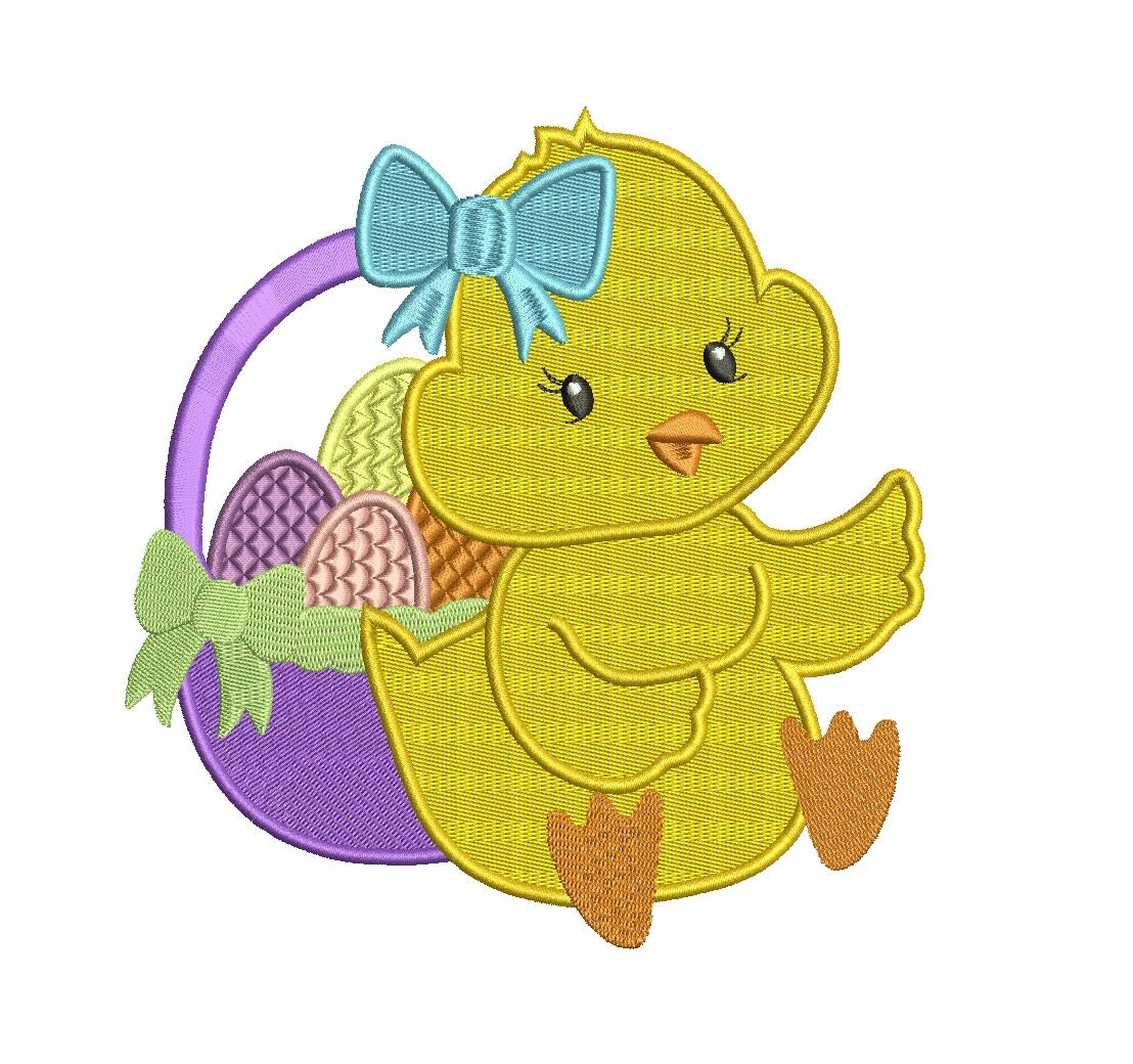Easter chick with basket filled machine embroidery digitized