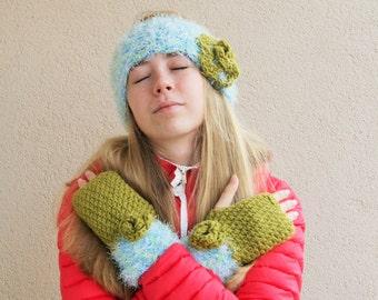 Handmade  Crochet  hairband and mittens